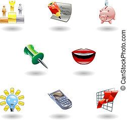 glanzend, zakenkantoor, set, pictogram
