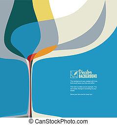 glas., abstract, silhouette, illustratie, wijntje