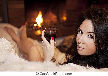 glas, avond, romantische, wijntje