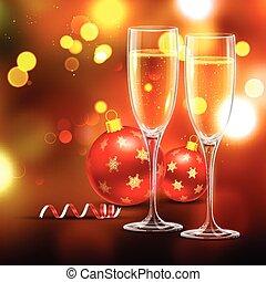 glas bal, kerstmis, wijntje