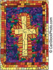 glas, bevlekte, kruis