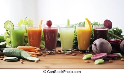 glas, boeiend, hand, sap, groente, tafel