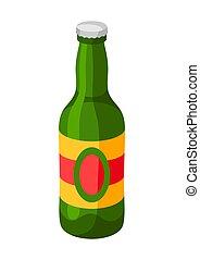 glas, cap., groene, fles