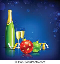 glas, champagne, kerstmis viering