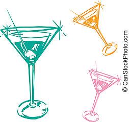 glas, cocktail, illustratie