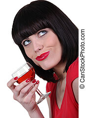 glas, drinkt, brunette, wijntje