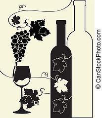 glas fles, druiven, wijntje