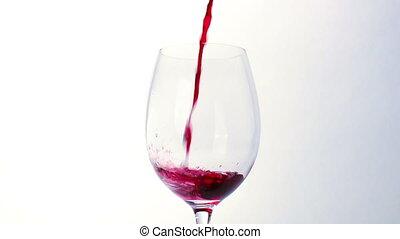 glas, geregen, rode wijn