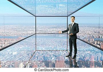 glas, het tonen, man, kamer, iets