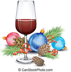 glas, kerstmis, wijntje