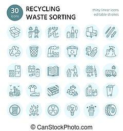 glas, management, restafval, recyclable, papier, informatieboekje , pictogram, pictogram, -, vector, sorteren, plastic, lineair, editable, slag, lijn, afval, moderne, metal., collection., recycling., poster