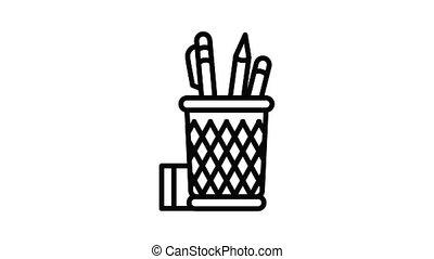 glas, potlood, bureau, animatie, pictogram