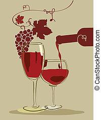 glas, rode druiven, wijntje
