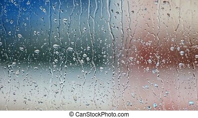 glas venster, druppels, regen
