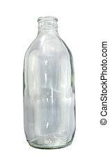 glas, vrijstaand, achtergrond., water, fles, soda, witte