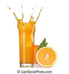 glas, vrijstaand, sap, gespetter, sinaasappel, witte