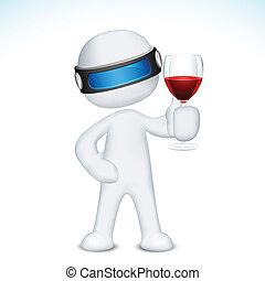 glas wijn, 3d, man
