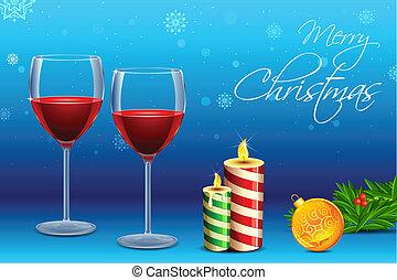glas wijn, kerstmis, kaarsje