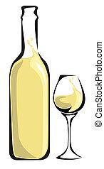 glas, witte , fles, wijntje