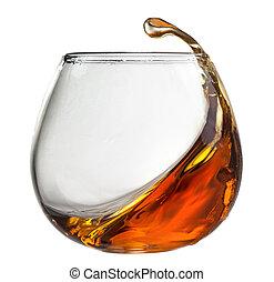 glas, witte , gespetter, vrijstaand, cognac