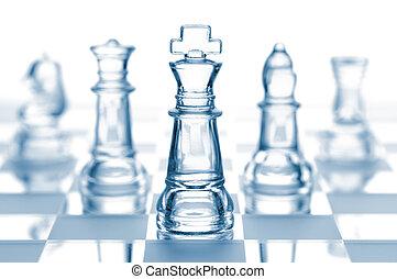 glas, witte , vrijstaand, transparant, schaakspel