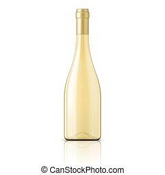 glas, witte , wijn., fles, gevulde