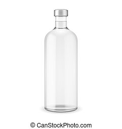 glas, wodka, cap., fles, zilver