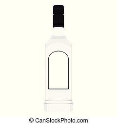 glas, wodka, fles