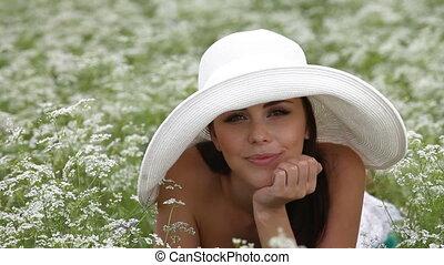 glimlachende vrouw, jonge, gezicht