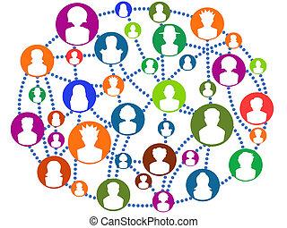 globaal, het verbinden, netwerk, mensen