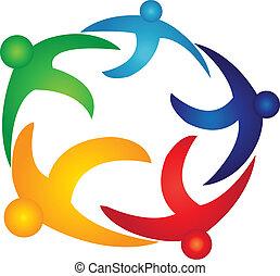 globaal, logo, vector, teamwork, mensen
