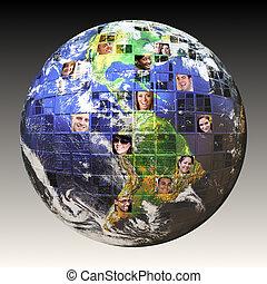 globaal, mensen, netwerk