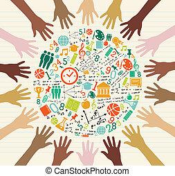 globaal, opleiding, menselijk, hands., iconen