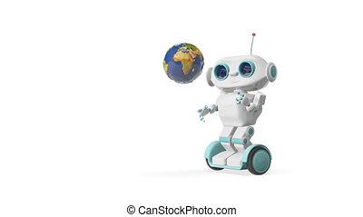 globe, animatie, robot, 3d