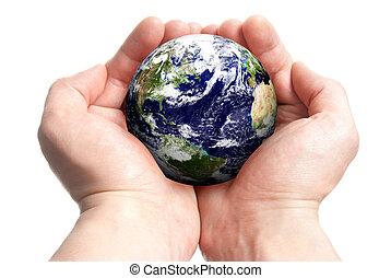 globe, handen