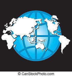 globe, kaart, vector, ontwerp