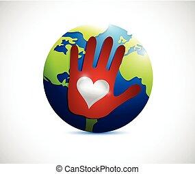 globe, liefde, illustratie, hand