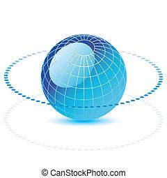 globe, lijn, dotted