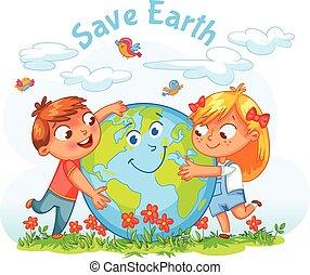 globe, meisje, het koesteren, jongen, day., aarde