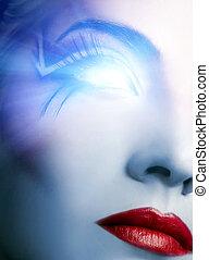 gloeiend, oog, futuristisch, cyber, gezicht