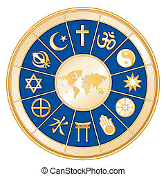 godsdiensten, kaart, wereld