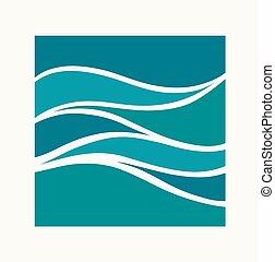 golf, blauwgroen, logo, design., icon., water, abstract, plein