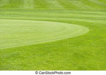 golf, course., groene achtergrond, akker