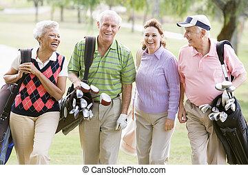 golf, vier, spel, verticaal, het genieten van, vrienden
