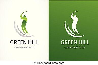 golfspel club, symbool, pictogram, logo, element