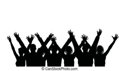 golven, groep, mensen, handen