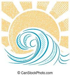 golven, landscape, vector, zee, ouderwetse , sun., illustratie