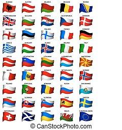 golvend, set, vlaggen, europeaan