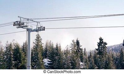 gondolas, voorbijgaand, boven, bomen, besneeuwd
