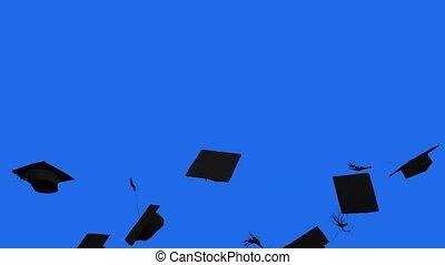 gooien, afgestudeerd, achtergrond, motie, lucht, beslag, vertragen, scherm, studio, blauwe